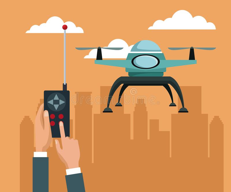 Sky landscape with buildings scene and people handle remote control with blue drone with two airscrew flying. Vector illustration vector illustration