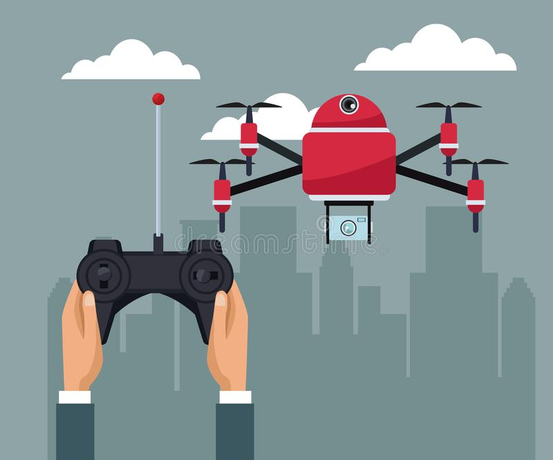 Sky landscape with buildings scene and people handle remote control with red four airscrew flying and camera. Vector illustration vector illustration