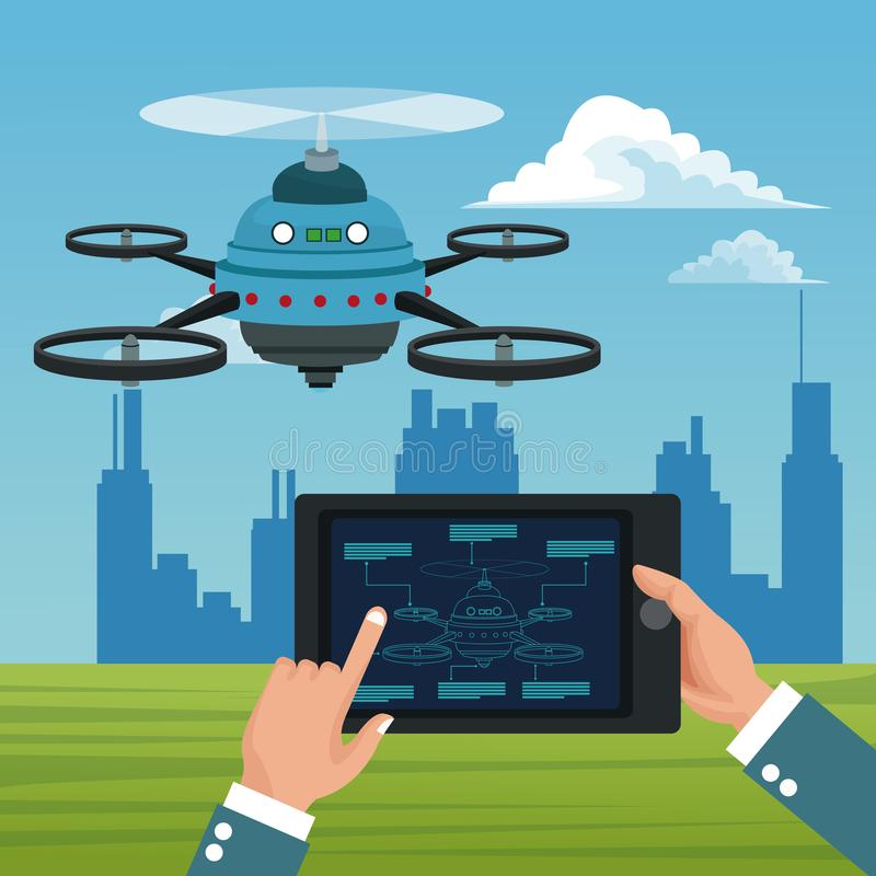 Sky landscape with buildings scene and people handle remote control in tablet with blue robot drone with five airscrew. Vector illustration stock illustration