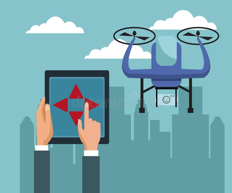 Sky landscape with buildings scene and people handle remote control with violet drone with two airscrew flying and. Device camera vector illustration stock illustration
