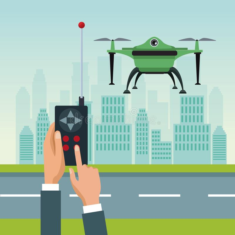 Sky landscape with buildings and street scene with people handle remote control with green robot drone with two airscrew. Flying and base vector illustration royalty free illustration