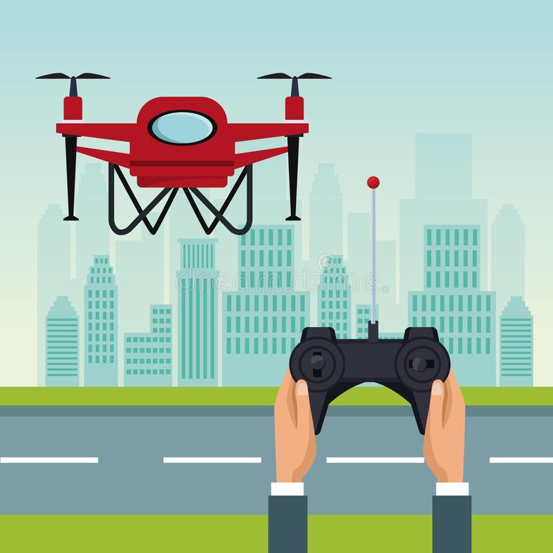 Sky landscape with buildings and street scene with people handle remote control with red drone with two airscrew flying. Vector illustration stock illustration