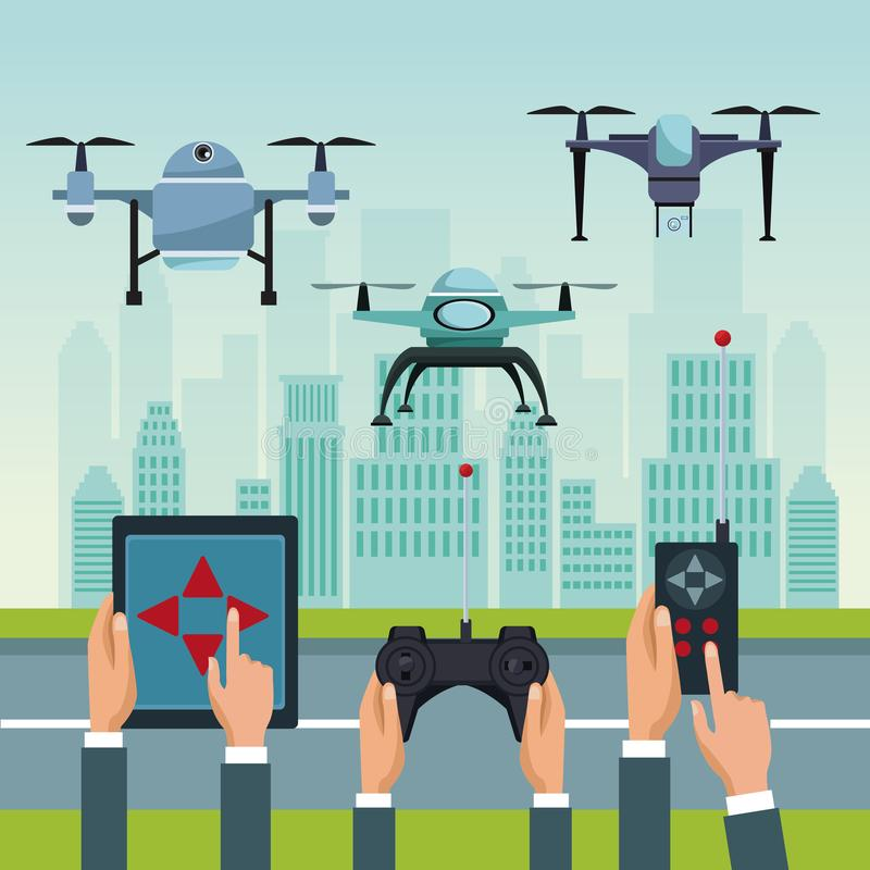 Sky landscape with buildings and street scene with people handle remotes control with set robot drones with two airscrew. Flying and base vector illustration stock illustration