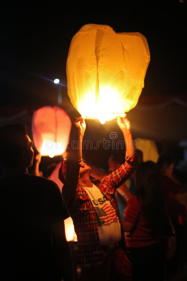 Sky Lantern stock photography