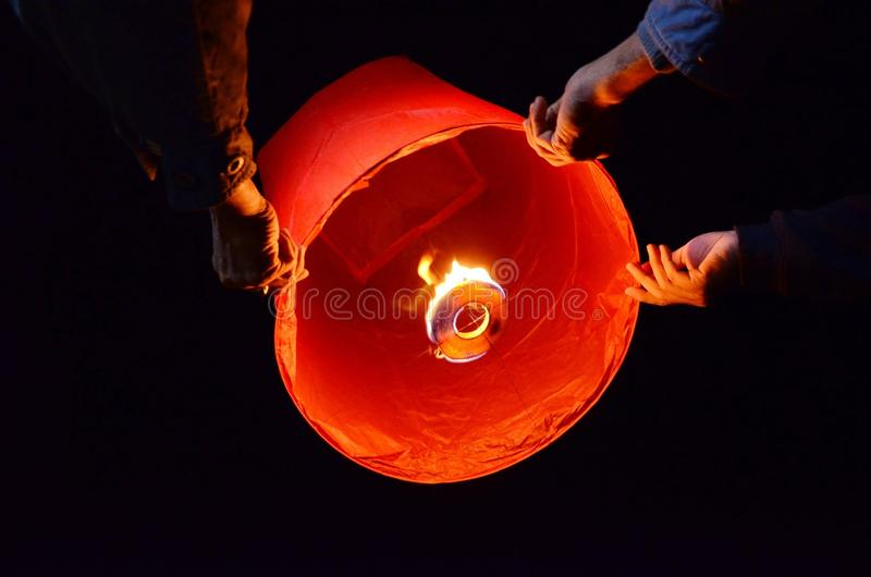 Sky lantern stock image