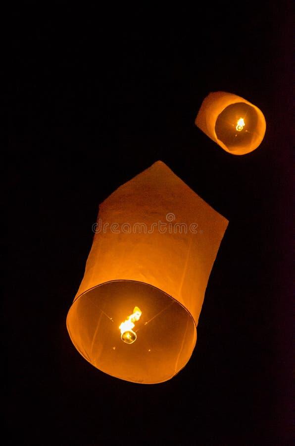 Sky lanterns firework festival, Loy Krathong and Yi Peng Festival in Tudongkasatarn, Chiangmai, Thailand. Tudongkasatarn is where royalty free stock images