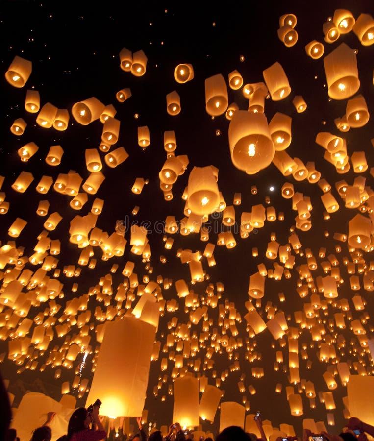 Sky lanterns at lantern Festival royalty free stock images