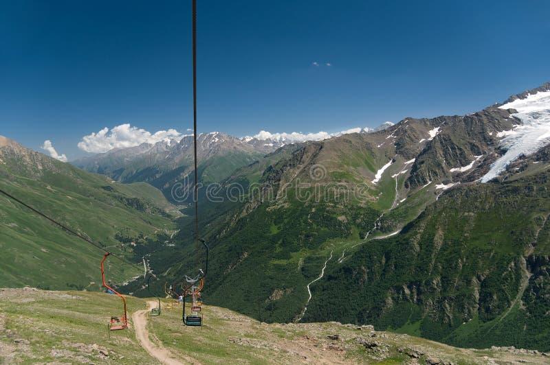 Sky lift on mountain Tcheget. stock image