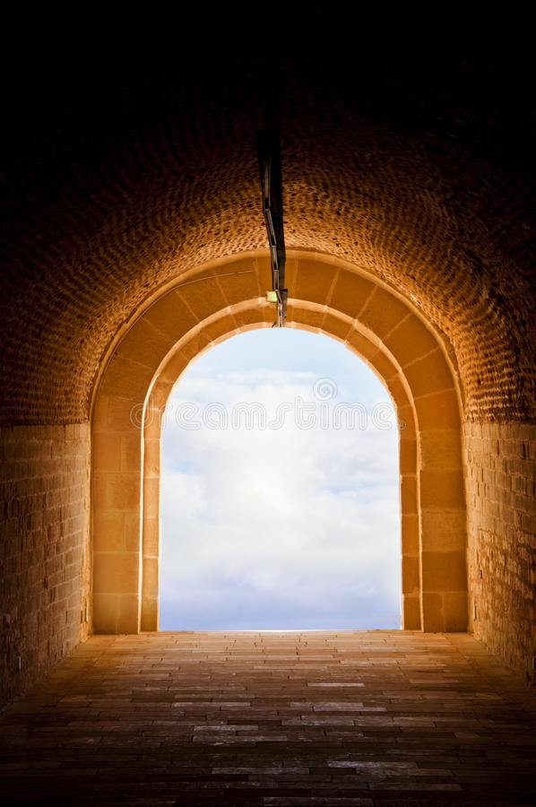 Sky Light at The End of Ancient Tunnel. Sky Light at The End of Tunnel(Qaetbay Castle stock images