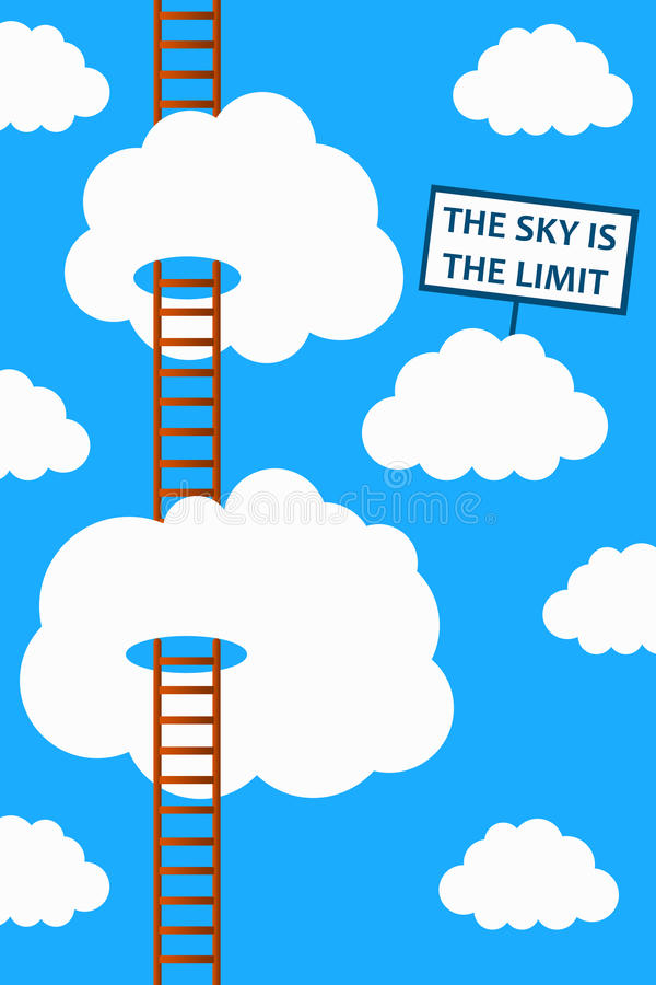 Sky is the limit. The sky is the limit in life and career stock illustration