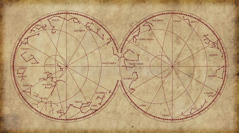 Sky map depicting constellations and zodiac signs. stock photo