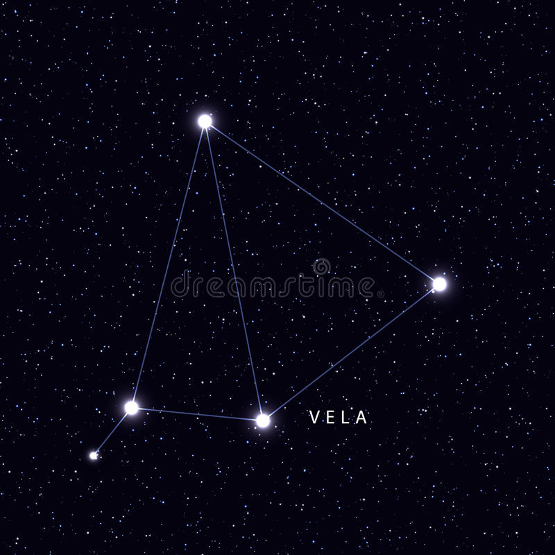 Sky Map with the name of the stars and constellations. vector illustration