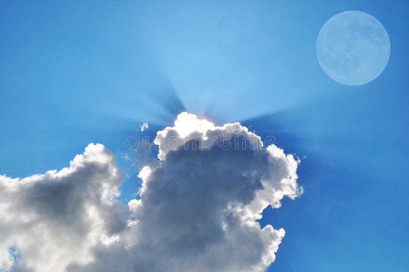 Sky with the moon and clouds stock photography