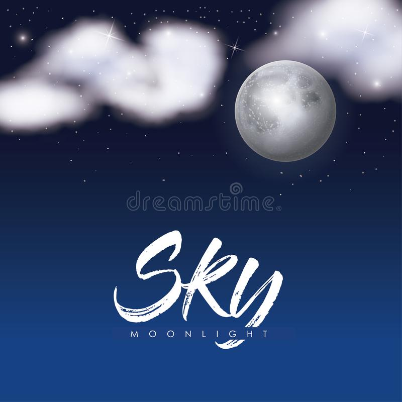 Sky moonlight poster with clouds over moon in background of starry sky royalty free illustration