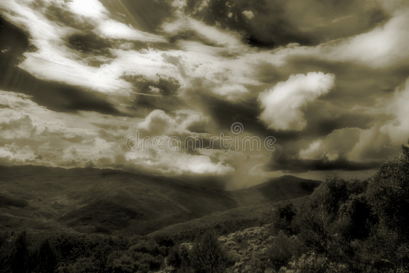Sky and mountain royalty free stock photography