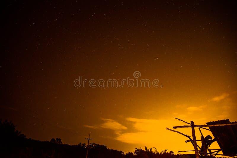 Sky at night yellow royalty free stock photos