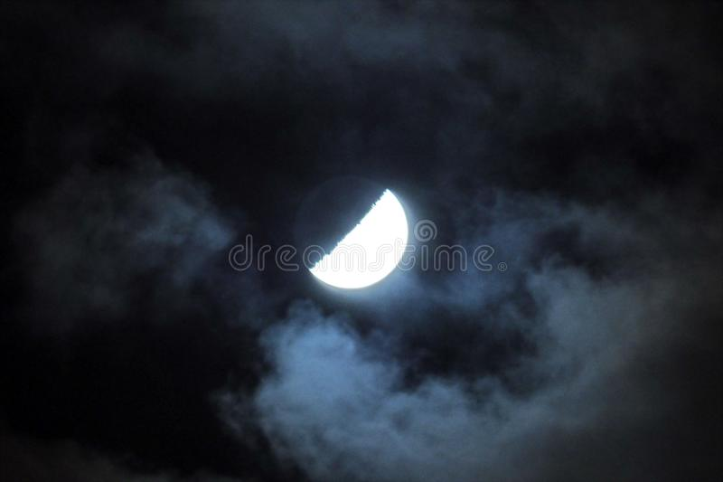 Moon lights and clouds observing on ksy stock image