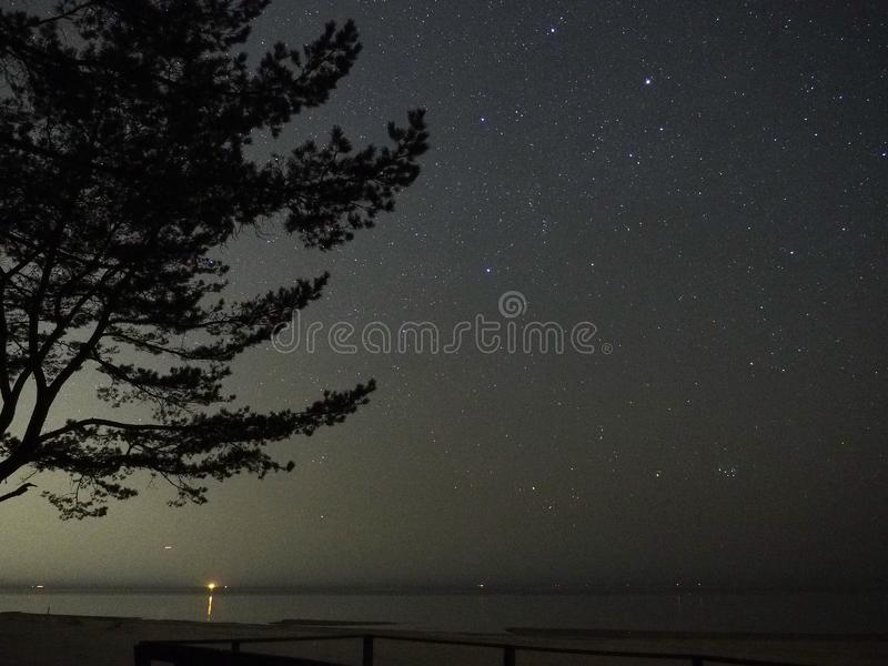 Night sky stars, Pleiades open star cluster M45 in Taurus constellation. Sky observing after sunset royalty free stock photo