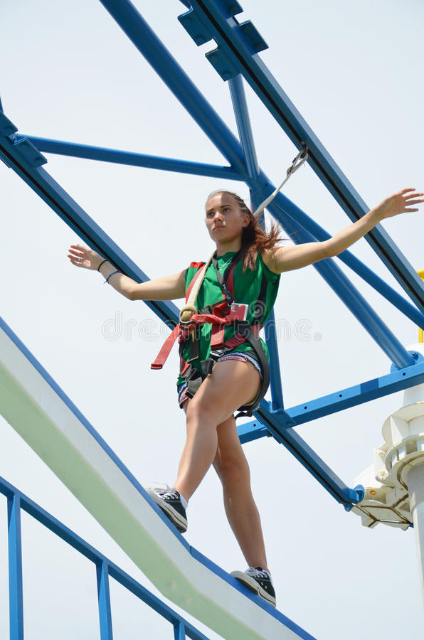 Sky Obstacle Course. On the Carnival Magic, Cruise ship. There is a obstacle course called the sky walk. You are harnessed in walk the course over 20 feet above stock photos
