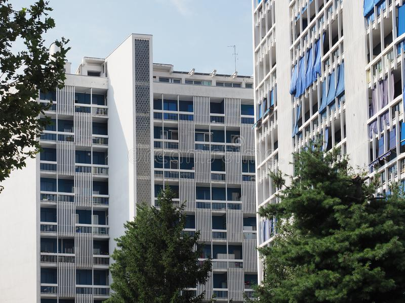 Sky Palace residence in Collegno. COLLEGNO, ITALY - CIRCA AUGUST 2019: Sky Palace modernist residence royalty free stock photos