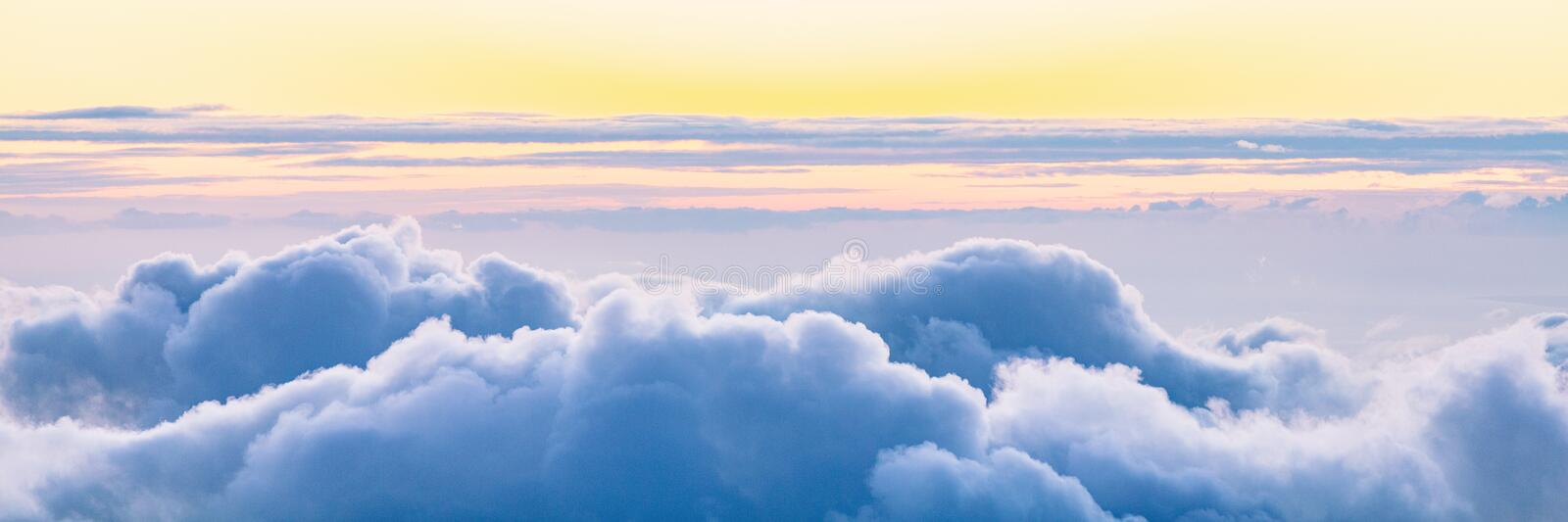Sky panoramic banner background of cloud sunset. Sky panoramic banner background of clouds at sunset royalty free stock photos