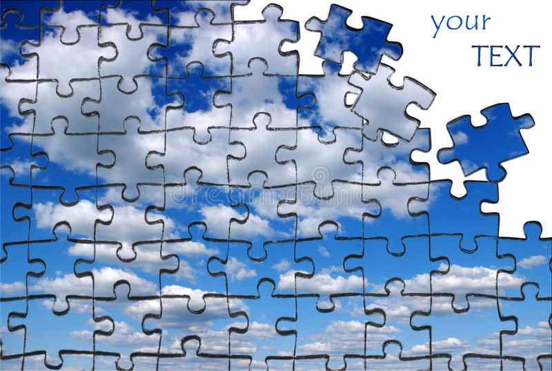 Sky pazles. Sky is built from puzzle royalty free stock image