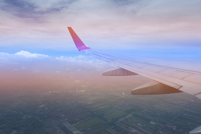 Sky pink and blue colors.sky abstract background. High angle shots taken from the plane. Sweet pastel blu.  royalty free stock photo