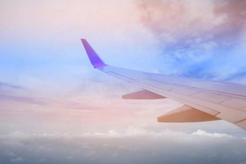 Sky pink and blue colors.sky abstract background. High angle shots taken from the plane. Sweet pastel blu.  royalty free stock photos