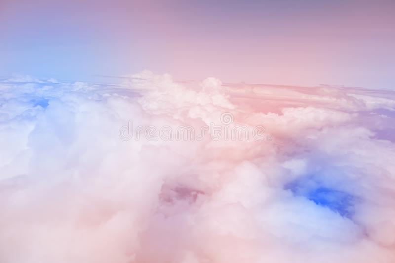 Sky pink and blue colors.sky abstract background. High angle shots taken from the plane. Sweet pastel blu.  stock photography