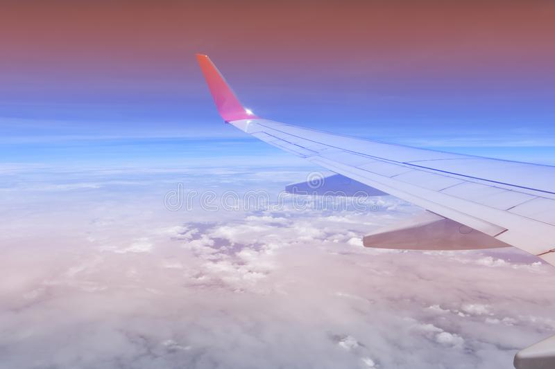 Sky pink and blue colors.sky abstract background. High angle shots taken from the plane. Sweet pastel blu.  stock image