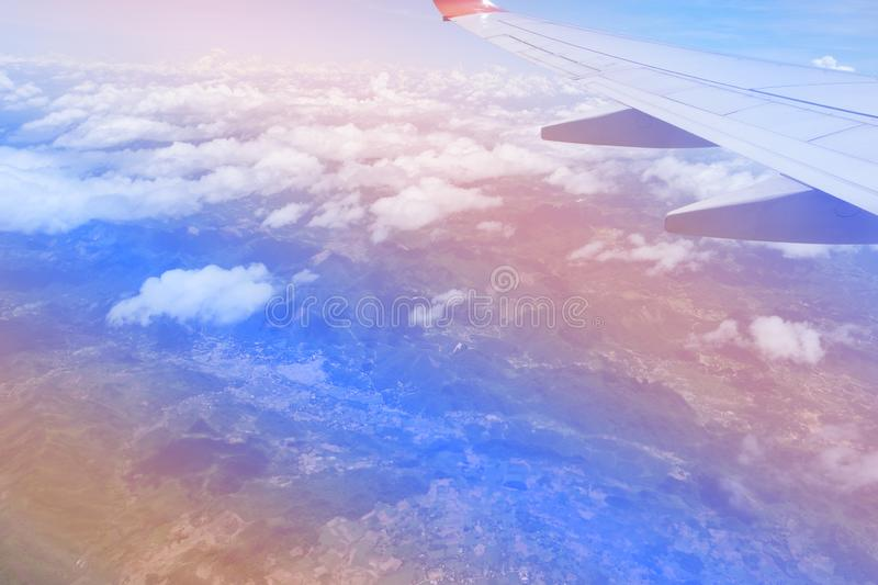 Sky pink and blue colors.sky abstract background. High angle shots taken from the plane. Sweet pastel blu.  royalty free stock image