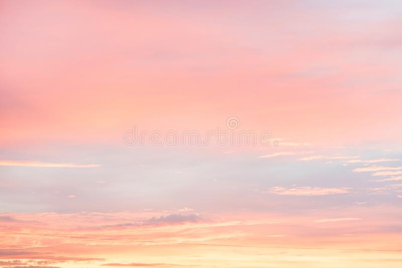 Sky in the pink and blue colors. effect of light pastel colored of sunset clouds cloud on the sunset sky background royalty free stock images
