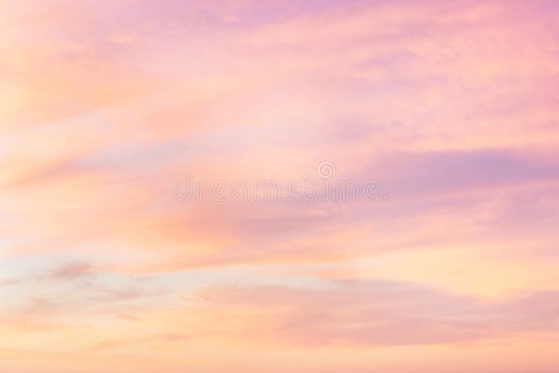 Sky in the pink and blue colors. effect of light pastel colored of sunset clouds cloud on the sunset sky background royalty free stock photo