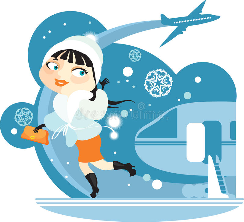 Sky, plane, girl royalty free illustration
