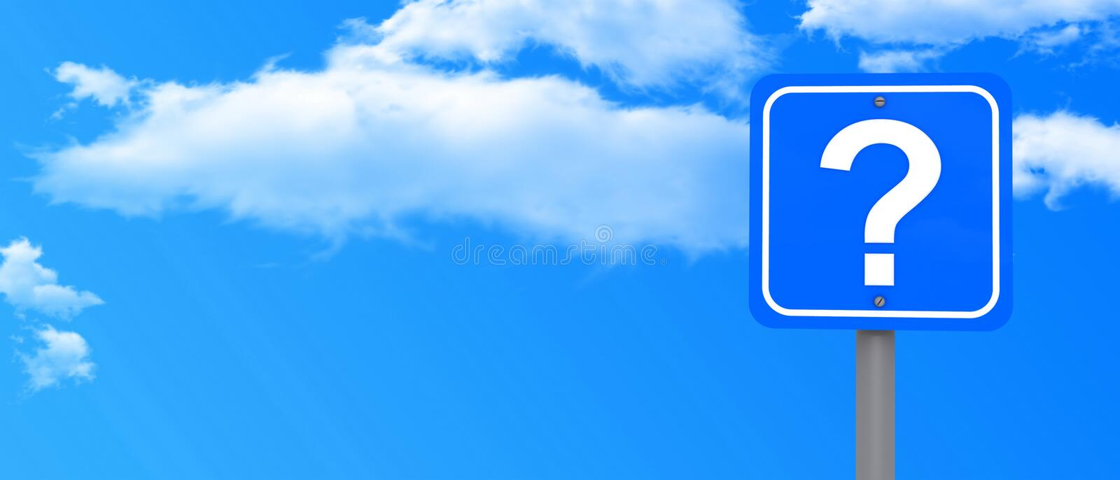 Sky and question mark sign. Panoramic view of blue sky and cloudscape with question mark sign in foreground and copy space stock photos