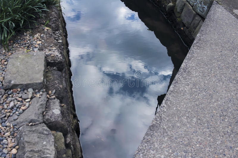 Sky reflected on the canal royalty free stock image