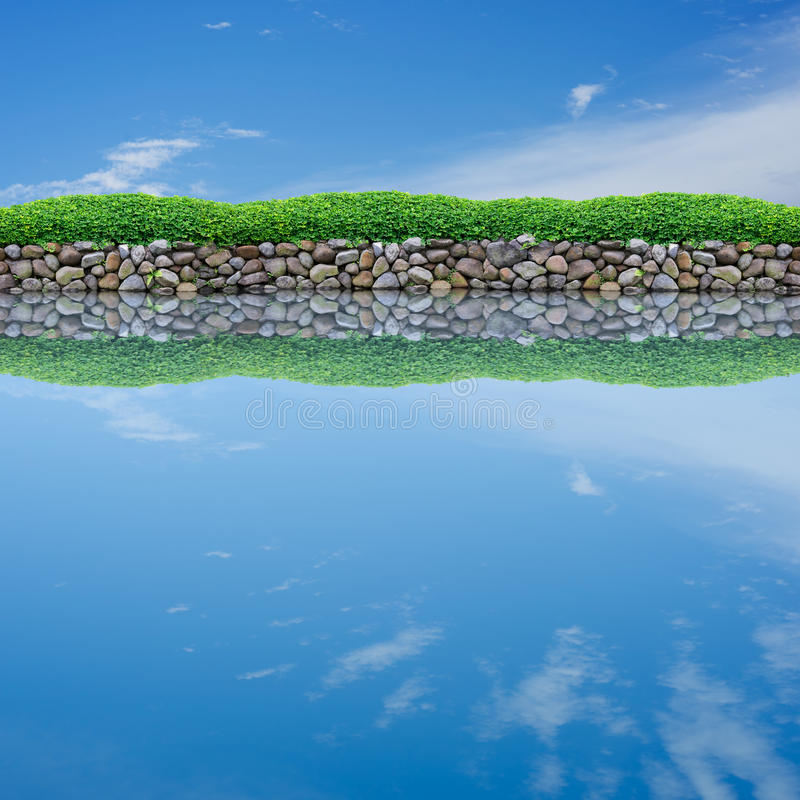 Sky reflection on calm pond. Blue sky reflection on calm pond stock images