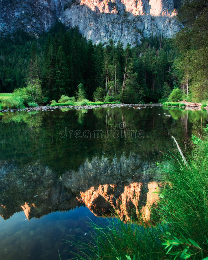 Sky Reflection on the Water. Sky Reflection on the merced river in Yosemite stock image