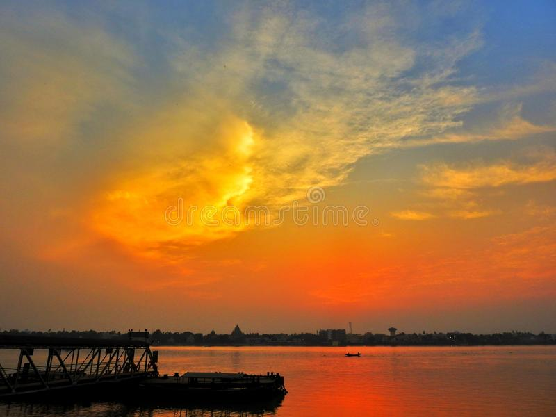 Sky at evening. Sky at river side at evening stock image