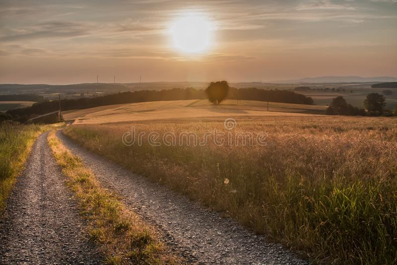 Sky, Road, Field, Morning royalty free stock photography