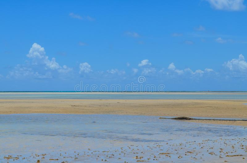 Sky, sand and sea in Brazil. Sky, and ocean in a famous region with a lot o beaches. This region called Maragogy city stock images