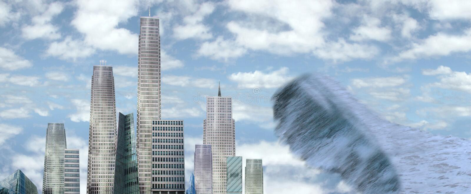 Sky scrapers with tidal wave vector illustration