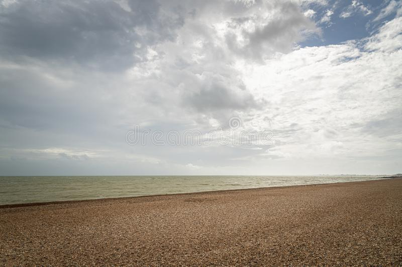 Sky, Sea and Beach. A tranquil image of the English Channel off the coast of England royalty free stock photos
