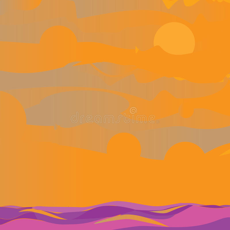 Download Sky and sea orange stock illustration. Illustration of cover - 27884421