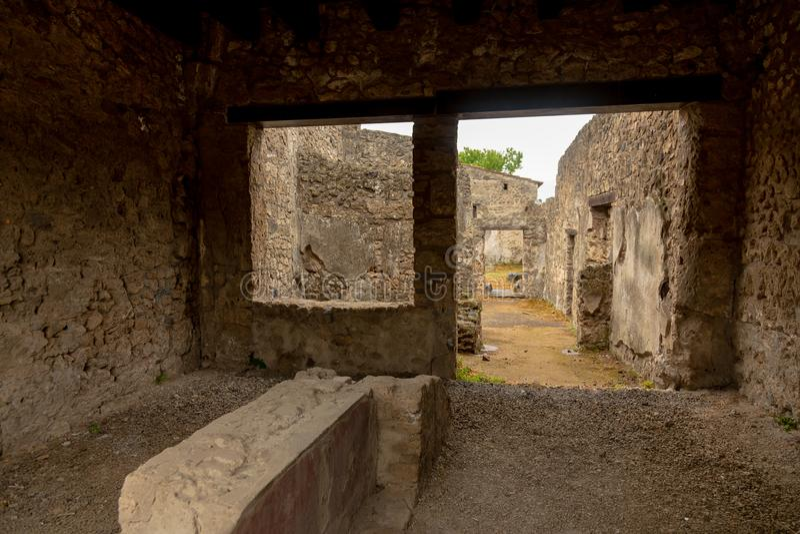 Pompei room. Sit stock photography