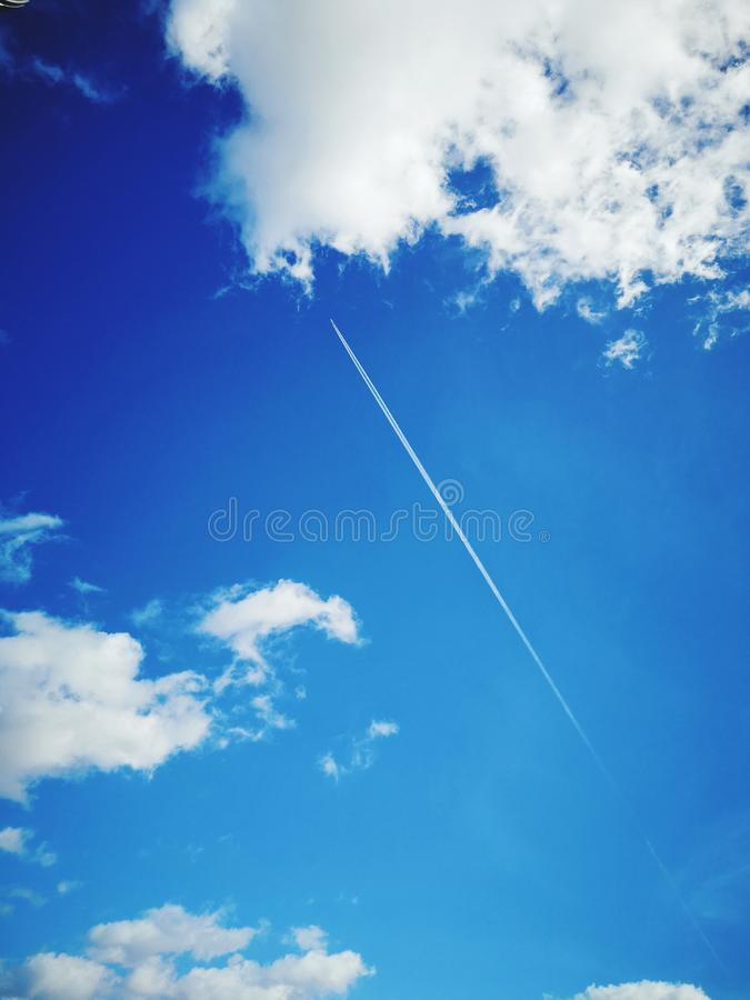 Sky and airplane. royalty free stock images