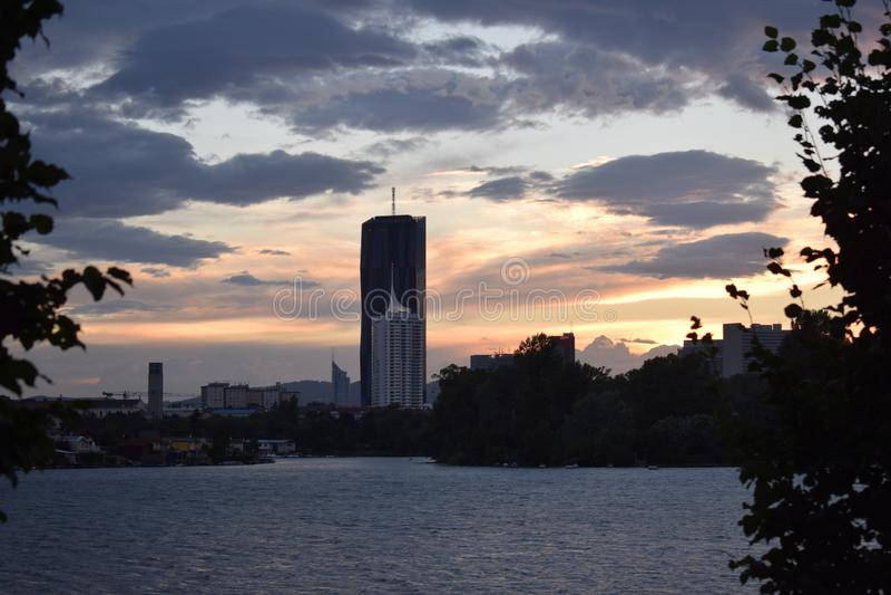 Sky, Skyline, Reflection, Dawn stock image