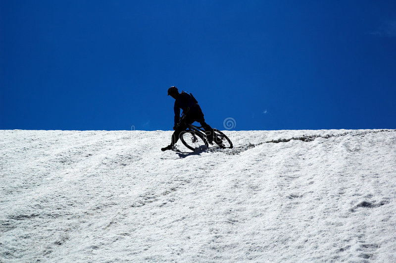 Download Sky, Snow And Mountain Biker Stock Photo - Image: 3560758