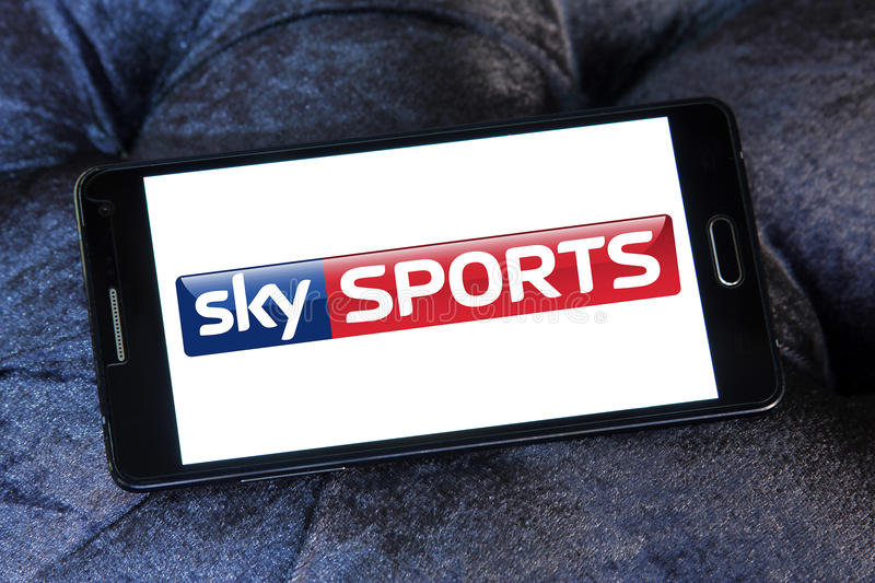 Sky sports logo. Logo of sports television network sky sports on samsung mobile stock images