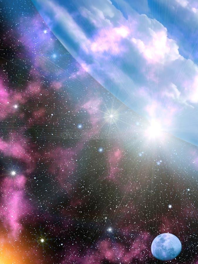 Sky stars Earth stock illustration